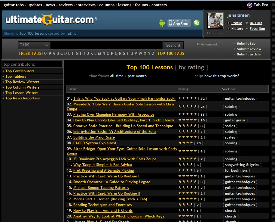 Top-100-Lessons-Ultimate-Guitar